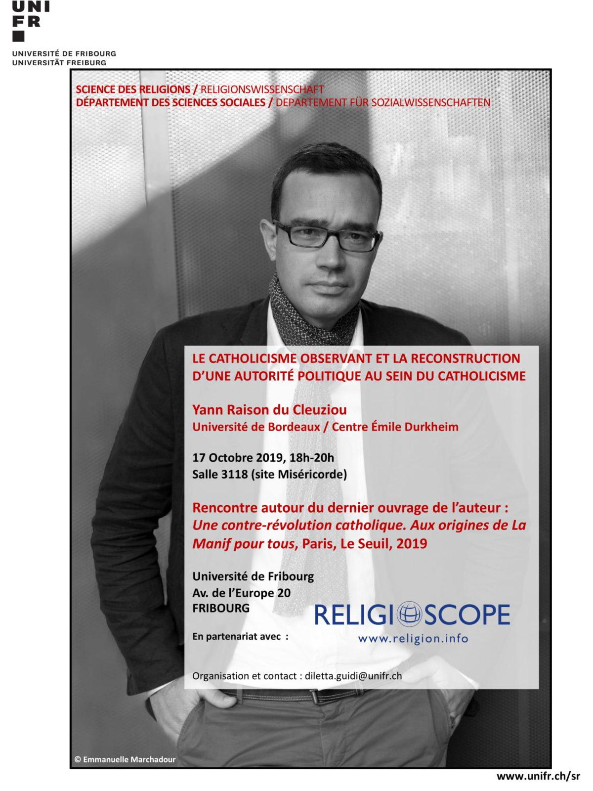 Yann Raison du Cleuziou parlera de son dernier livre à Fribourg le 17 octobre 2019